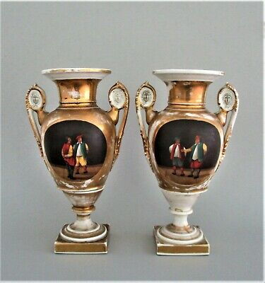 Pair of Antique  European French or German  Porcelain Urns