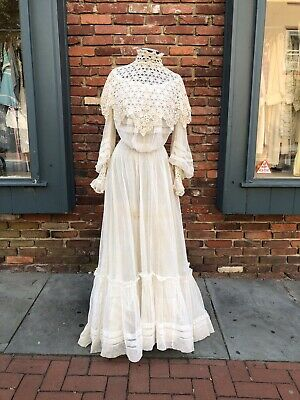 Antique Victorian White Cotton Mesh Crochet Skirt & Top Set with lace trim AS IS