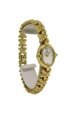 Bulova 97S89 Women's Oval Analog Mother of Pearl Gold Tone Watch