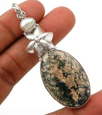 11g Flower Natural Moss Agate 925 Solid Sterling Silver Pendant Jewelry, G7-1