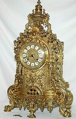 Vintage Monumental Fhs Louis Xvi French Style Shelf Clock W/ Cartouche Numerals.