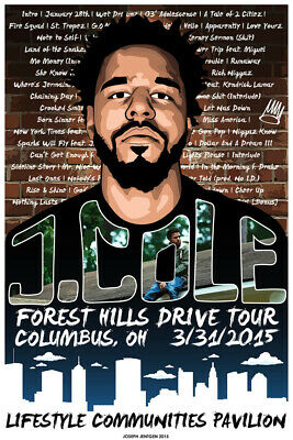 F-886 J Cole 2014 Forest Hills Drive Tour Hip Hop Poster Wall Art Canvas 24x36