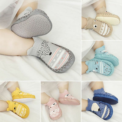Newborn Baby Unisex Sole Crib Shoes Infant Boy Girl Toddler Anti-Slip Soft Socks