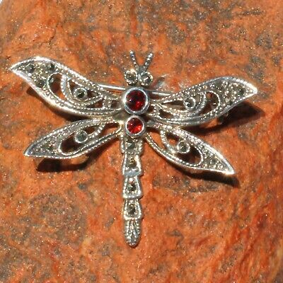 DRAGONFLY BROOCH  PIN Sterling Silver Marcasite Red Garnet 925 Vintage