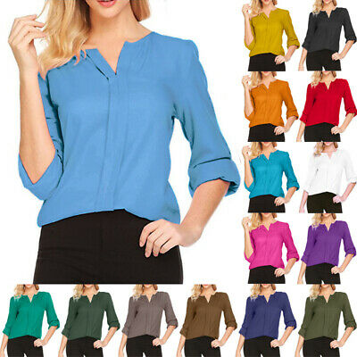 Plus Size Women's Ladies Chiffon T Shirt Long Sleeve V-neck Blouse Tops Shirt