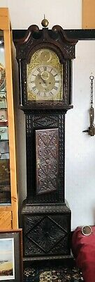 Antique 1750s English 8 day Longcase Grandfather Clock Oak case beautiful