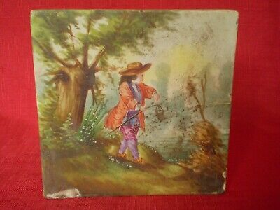 Stunning Antique Hand Painted Tile, Man On Riverbank Fishing