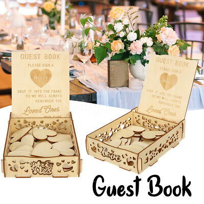20 Hearts+ Wooden Signature Box Guests Leave Message Decor Wedding Crafts Gift