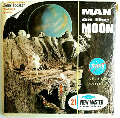 3x VIEW MASTER REEL / MAN ON THE MOON / +BOOKLET / NASA / APOLLO PROJECT / B 658