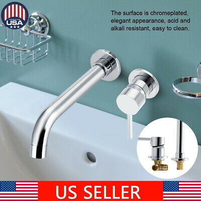Wall Mount Chromeplated Bathroom Basin Faucet Single Handle Sink Tub Mixer Tap