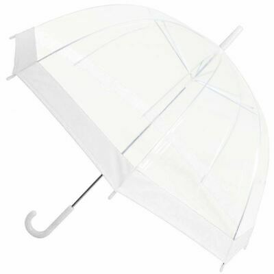 Clear See Through Transparent Dome Bubble Parasol Birdcage Umbrella ~ White