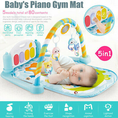 5-in-1 Baby Infant Gym Activity Floor Play Mat Piano Musical Educational  UK A