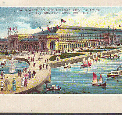 Manufacturing Arts Building 1893 Chicago Worlds Fair WCE Color Lith Coffee Card
