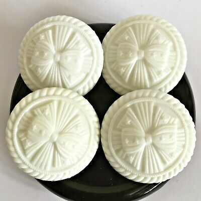 4 x Large white bow buttons sewing plastic textured vintage diy sewn decor 35mm