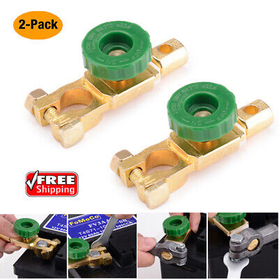 2X Brass Car Battery Cut-Off Switch Terminal Link Disconnect Master Quick Shut