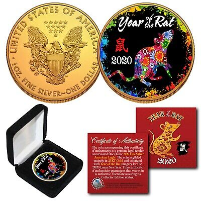 2020 Chinese YEAR OF THE RAT 24K Gold 1 OZ AMERICAN SILVER EAGLE PolyChrome BOX