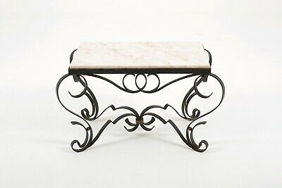 Raymond Subes Coffee Side Table Antique French Art Deco Wrought Iron Marble Gilt