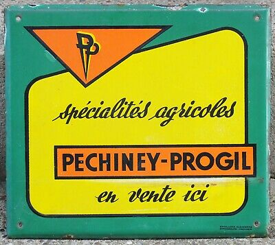 French enamel building sign plaque Pechiney Progil farm agricultural machinery