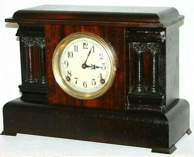 Antique Sessions 1910'S 4 Pillar Mantel Clock W/ Mahogany Finish. Gong & Bell