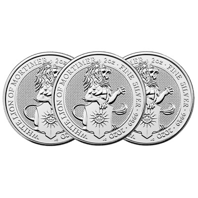 Lot of 3 - 2020 U.K. 5 Pound Silver Queen's Beast White Lion of Mortimer .9999 2