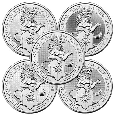 Lot of 5 - 2020 U.K. 5 Pound Silver Queen's Beast White Lion of Mortimer .9999 2