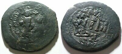 Rare Ancient Byzantine Follis Double Strike Heraclius? Ae Bronze Coin