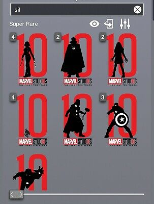 Topps Marvel Collect Studios First Ten Years Die Cut Set of 8 Award Ready SR