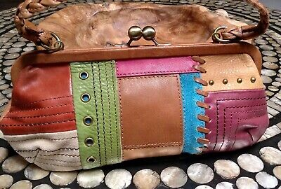 Fossil Patchwork Leather Framed Kiss Lock Wallet Card Case Coin Purse