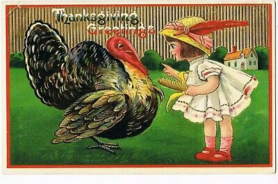 ANTIQUE THANKSGIVING Postcard  YOUNG GIRL, HOLDING EAR OF CORN, POINTING FINGER