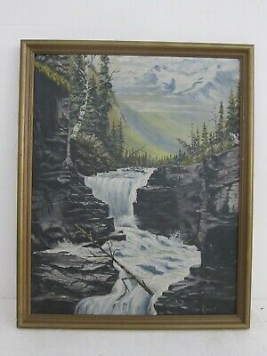 W. Rosent Signed Antique Mountain Waterfall Landscape Oil Painting Framed 17x21
