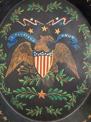 Vintage Americana Patriotic Eagle And Shield Flag Painting On Tin Bowl Toleware