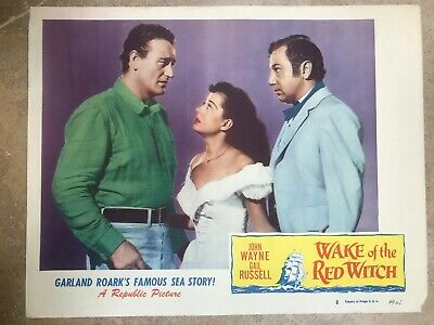 JOHN WAYNE GAIL RUSSELL WAKE OF THE RED WITCH LOBBY CARD 11x14 1949 (JW42)