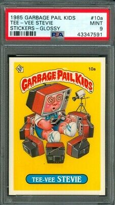 1985 Topps GARBAGE PAIL KIDS #10a Tee-Vee Stevie (GLOSSY) PSA 9 (MINT)