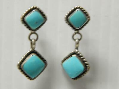 Vintage Southwest Sterling Silver Earrings Turquoise Danglers Stud Back