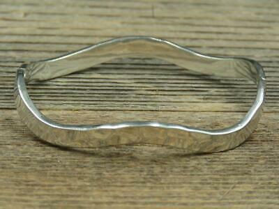 Vintage Mexico Sterling Silver Hand Hammered Hinged Wavy Bangle Bracelet