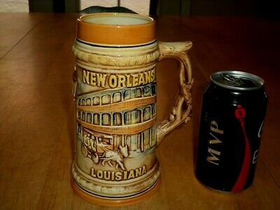 NEW ORLEANS - LOUISIANA, [3-D] GRAPHIC, Ceramic Beer Stein, VINTAGE JAPAN 1960's