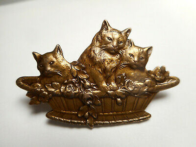 "Kittens Cats in a Basket Brass Great Detail Vintage Button 1-1/2"" NP"