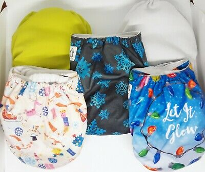 Rebranded Alva Winter, Holiday  Pocket Cloth Diapers with Charcoal Inserts 5 lot