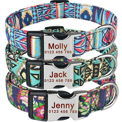 Polyester Personalized Dog Collar & Tag Small Dogs Large Pet Free Engraved Name