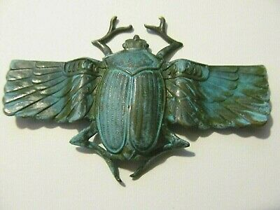 Art Deco Egyptian Deeply Patina Brass Winged Scarab Beetle Designed Brooch Pin