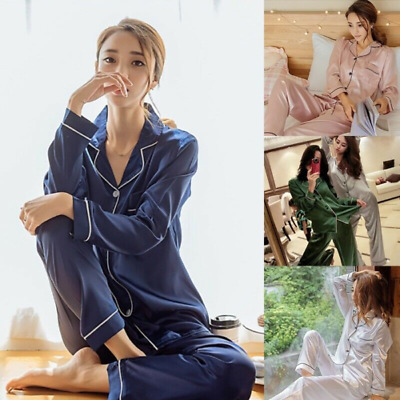 Womens Ladies Satin Pyjama Set Silk Nightwear Pajamas Long Sleeve Nightwear---