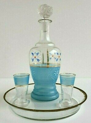 Antique Bohemian Decanter Turquoise Hand Painted Glass Set Cordial Aperitif Tray