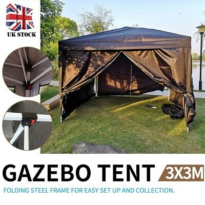 3x3m Heavy Duty Pop Up Gazebo Canopy Foldable Marquee Tent Outdoor Garden Party