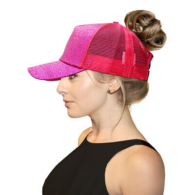 New Glitter Ponytail Baseball Cap Women Messy Bun Adjustable Snapback HipHop Hat