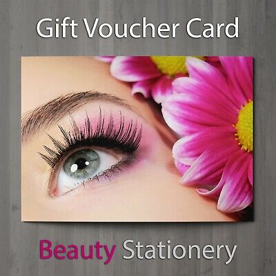 Gift Voucher Beauty Salon Blank Card Lash Lift Eyelash Extension  A7 + Envelopes