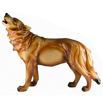 Howling Wolf Faux Carved Wood Look Figurine Resin 12.75 Inch Long Statue New