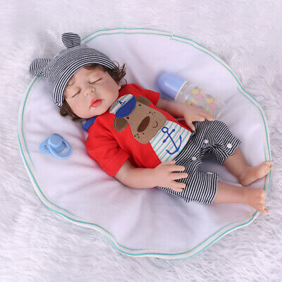 "18"" Full Body Silicone Reborn Baby Dolls Lifelike Vinyl Newborn Dolls Xmas Toy"