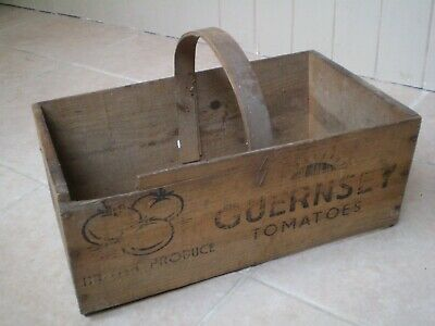 Stunning Antique/Vintage Wooden Advertising Trug, Guernsey Tomatoes