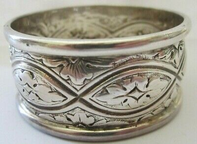 Antique Heavy Repousse Sterling Silver Napkin Ring Lot # 7 Of Collection See All