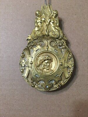 Antique French Gilt Brass  Portico Mantle Clock Pendulum Shakespeare Mermaids